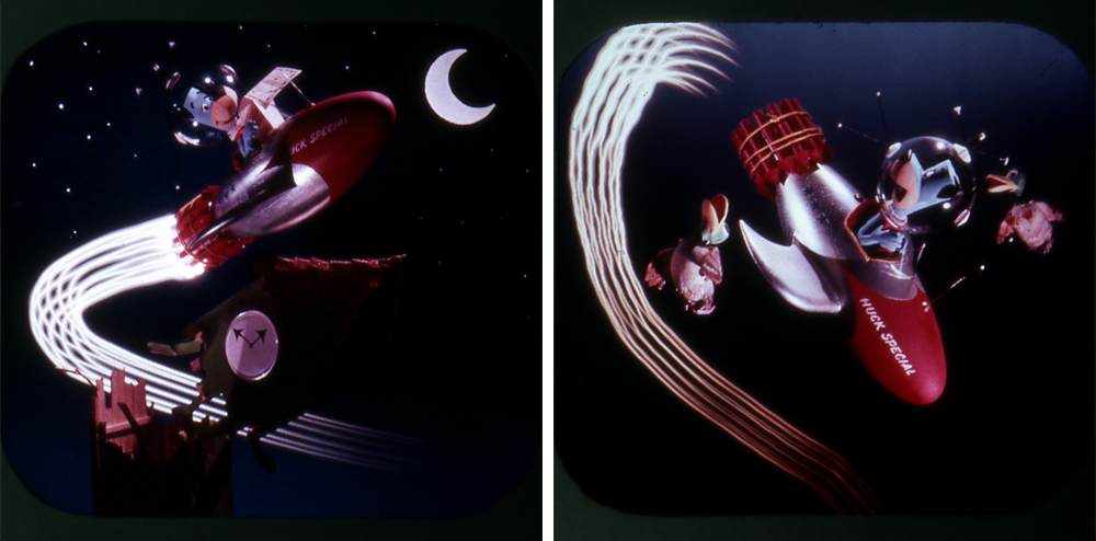Frames from View-Master reel, Huckleberry Hound Lands on the Moon, (c) 1960 Hanna-Barbera Productions