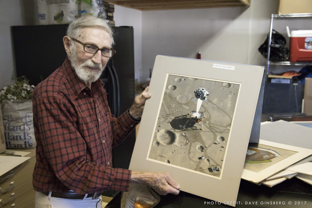 Pierre with his original illustration of Eagle lifting off from Tranquility Base. Photo: Dave Ginsberg 2017