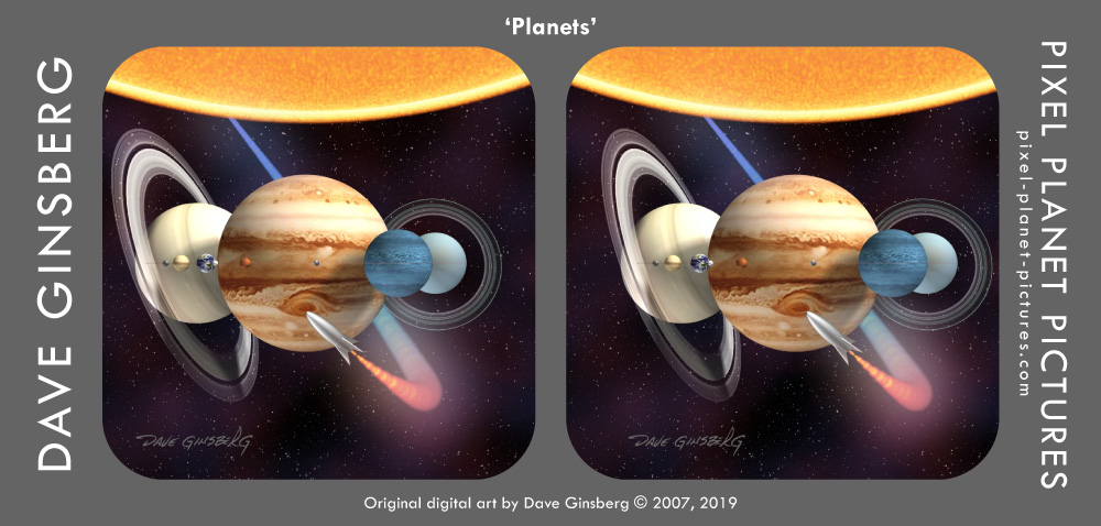'Planets' stereograph, © 2007, 2019 Dave Ginsberg